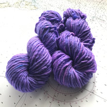 Load image into Gallery viewer, Sea Urchin | Super Bulky Merino Purple Blue Violet Pink Semi Solid Tonal / Single 1-ply wool nylon / Indie Hand Dyed Ready to Ship