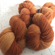 Load image into Gallery viewer, Sand Castle | Lace Merino Burnt Orange Brown Sienna Bronze Clay Autumn Warm Semi Solid Tonal / Single 1-ply wool / Indie Hand Dyed In Stock