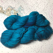 Load image into Gallery viewer, Boston Harbour | Worsted Merino Teal Blue Grey Earth Deep Semi Solid Tonal Superwash Wool / Indie Hand Dyed Ready to Ship