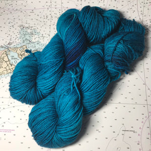 Boston Harbour | Worsted Merino Teal Blue Grey Earth Deep Semi Solid Tonal Superwash Wool / Indie Hand Dyed Ready to Ship