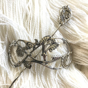 Passion Flower Shawl Pin Stick & Ring | White Brass