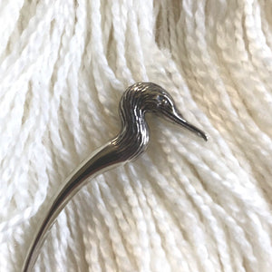Cormorant Bird Shawl Stick | White Brass
