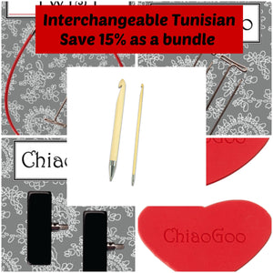 15% Discount Bundle Interchangeable Tunisian Crochet Hook Tips \\ tips, cables, tightening keys & end stoppers