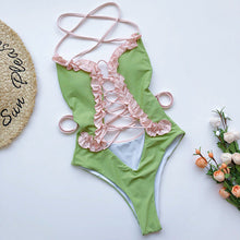 Load image into Gallery viewer, Thrills & Frills One Piece Swimsuit - Tropical Green
