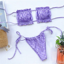 Load image into Gallery viewer, Solid Ruched Bikini Set - Iris Purple