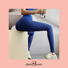 Load image into Gallery viewer, Honeycomb High Waist Slimming Leggings - Royal Blue