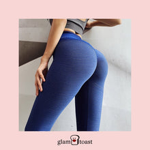 Load image into Gallery viewer, Super Booty Push Up Striped Leggings - Berry Blue