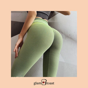 Super Booty Push Up Striped Leggings - Mint Green