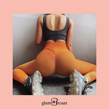 Load image into Gallery viewer, Super Booty Push Up Striped Leggings - Apricot Orange