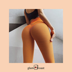 Super Booty Push Up Striped Leggings - Apricot Orange