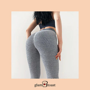 Honeycomb High Waist Slimming Leggings - Smoke Grey