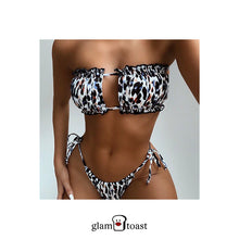 Load image into Gallery viewer, Solid Ruched Bikini Set - Leopard Print