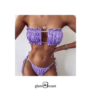 Solid Ruched Bikini Set - Iris Purple