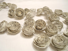 Paper flower garland. book page decor. book page flowers. wedding garland.
