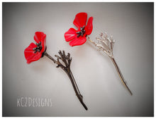 Red poppy brooch. Poppy pin.