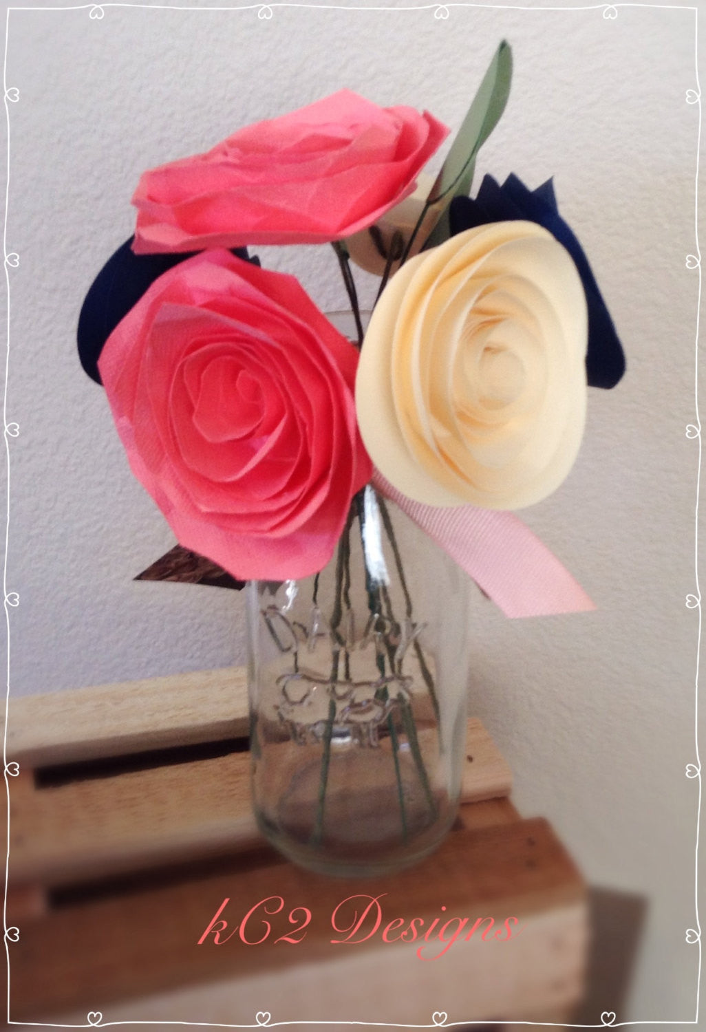 Paper Flowers Centerpieces Table Numbers Blush Coral Navy