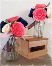 Paper flowers. centerpieces. table numbers. Blush. Coral. Navy. roses. Baby. rustic wedding. Glass vase.paper rose. Book page flowers. Book.