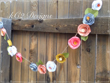 Paper Flower Garland coral. Blush garland. Wedding Garland. Fall decor.  YOUR COLORS. wedding paper flowers. Free shipping