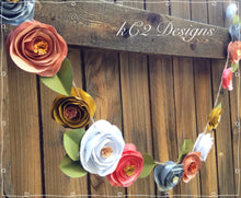 Paper Flower Garland coral. Blush garland. Wedding Garland. Fall decor.  YOUR COLORS. wedding paper flowers