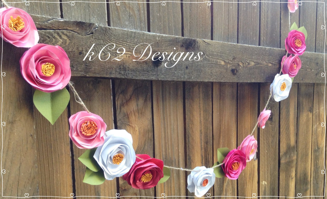 Paper flower garland kate spade inspired blush garland wedding paper flower garland kate spade inspired blush garland wedding garland your colors mightylinksfo