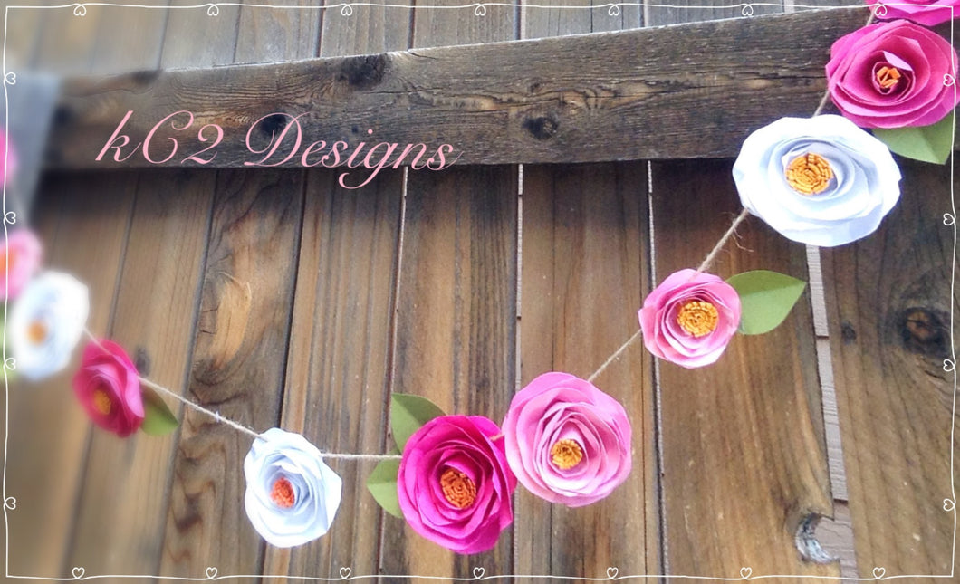 Paper Flower Garland. Kate Spade Inspired. Paper flowers. Garland. YOUR COLORS. Pink flowers. Baby shower. Nursery decor. Wedding decor