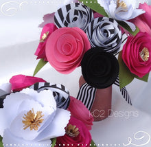 Paper flowers. Kate Spade inspired. Bridal bouquet. Centerpiece. Pink paper flowers. Black and white flowers. Bridal flowers. Babies room.