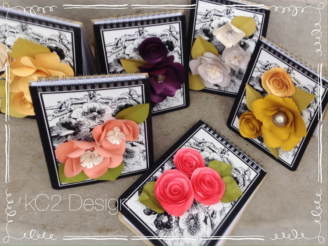 Paper flowers. Notebook. Writing paper. Teacher gift. Housewarming gift. Customized gift. Office gift. YOUR COLORS. notepad. School book.