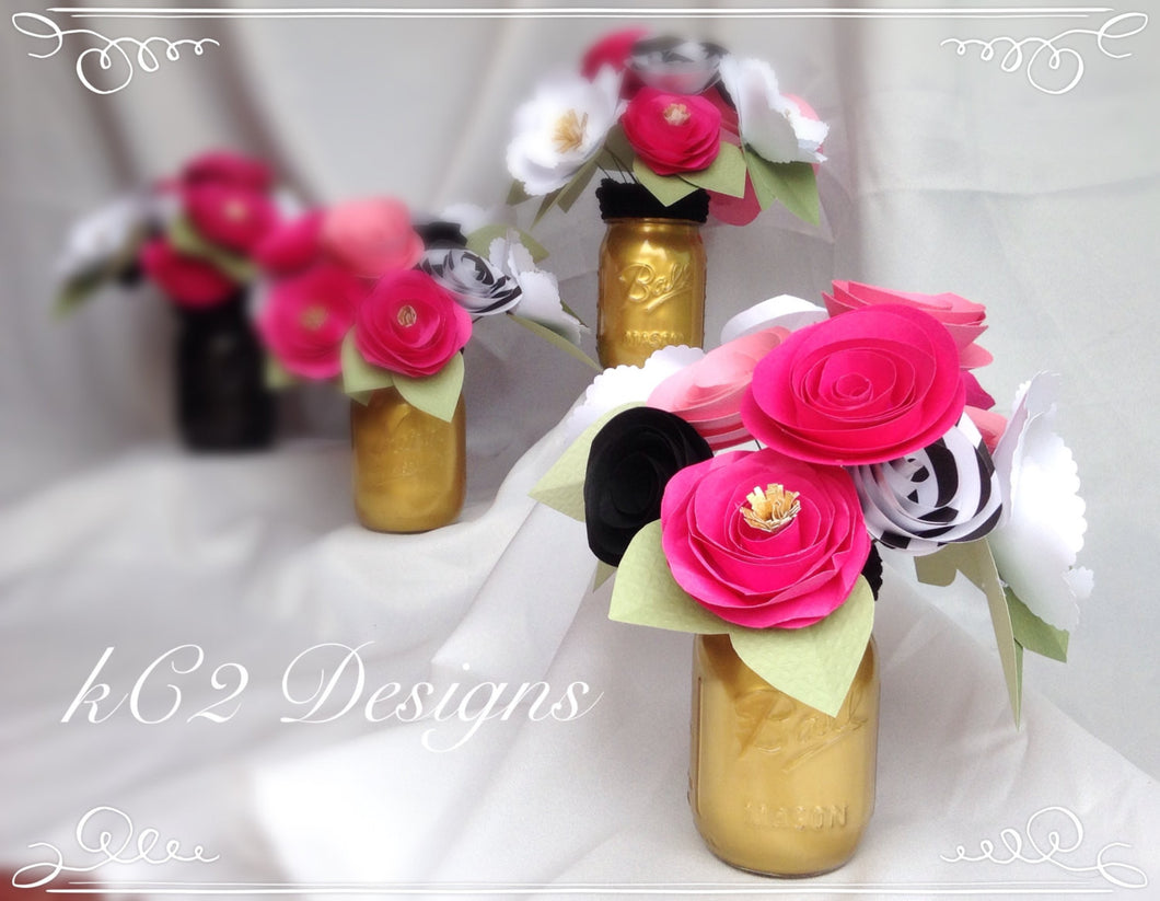 Paper flowers. Kate Spade inspired. Kate Spade Inspired Centerpiece. Pink paper flowers. Black white flowers. Bridal flowers. Babies room. Kate Spade Inspired Wedding.