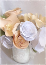 Paper flowers. centerpieces. YOUR COLORS. table numbers. Blush wedding. Mothers Day Ivory roses baby girl. rustic wedding. paper rose rustic