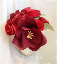 Paper flowers centerpieces table numbers Valentines Day Mothers Day red roses baby girl rustic wedding ceramic vase paper rose rustic