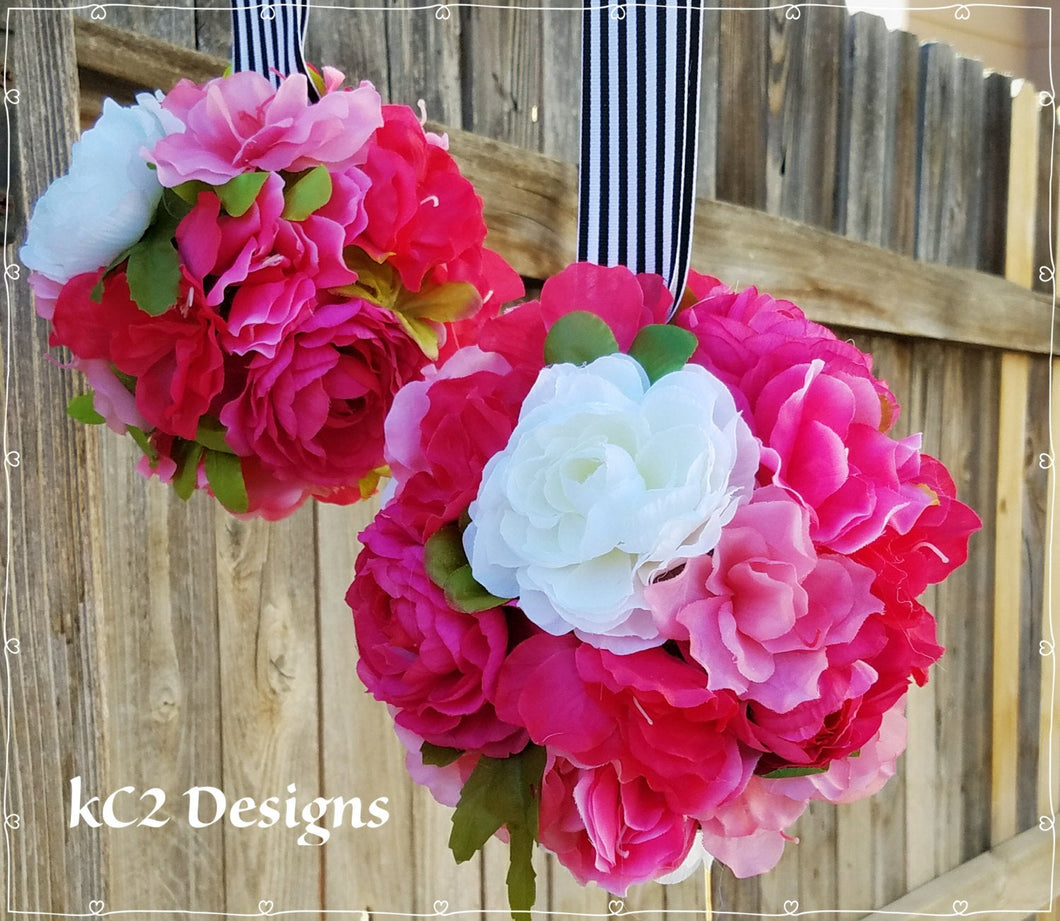 Kate Spade Inspired. Kissing ball. Pomander. Silk flowers. Kate Spade Indspired wedding. Wedding. Decorations. YOUR COLORS. Baby shower.