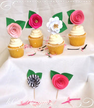 Kate Spade Inspired. Cupcake toppers. Cake topper. Party favors. Pink party decor. Kate Spade Inspired party. Girls party favors.  Cupcakes.