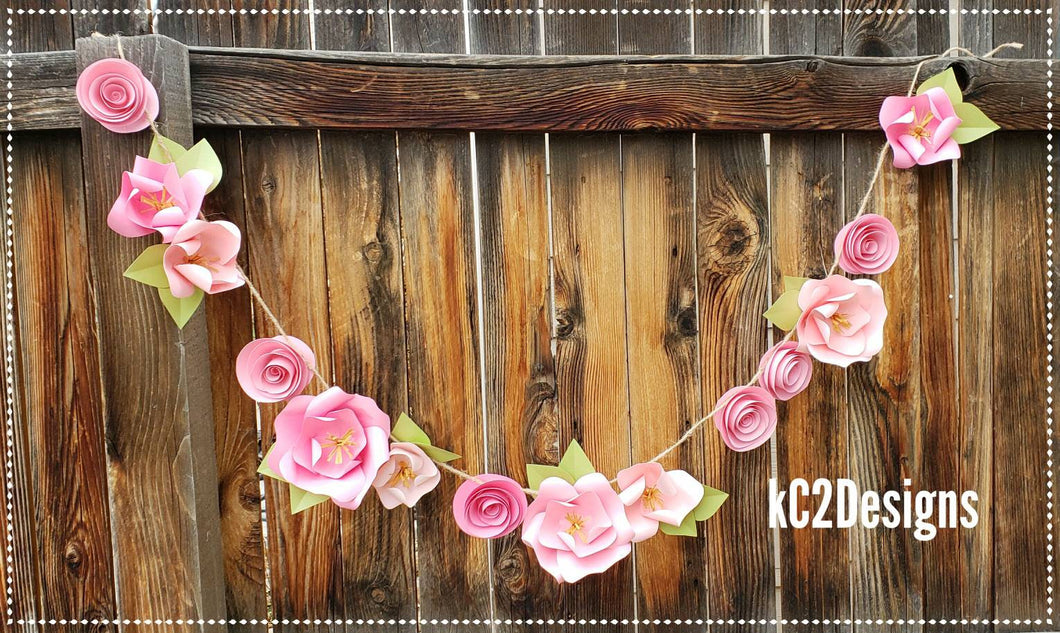 Paper Flower Garland blush garland pink Wedding Garland. Pink flowers paper flower garland rose quartz gold garland nursery decor baby girl