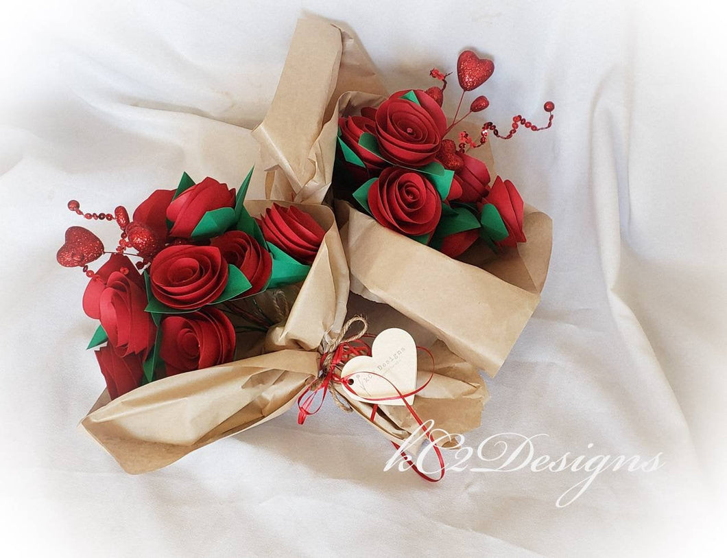 Valentines Day flowers. Red roses. Valentines Day gift. bridal bouquet. Flower girl flowers. red paper flowers. dozen roses