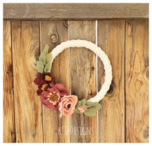 Felt Flower Wreath. Rustic wreath. Felt rose wreath. fall wreath. Door hanging. rustic decor. felt flower decor. wool felt decor. Spring
