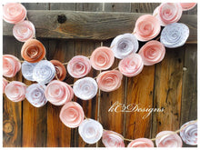 Paper Flower Garland. Rose gold garland. gold Wedding Garland. Pink flowers paper flower garland rose quartz gold garland nursery decor