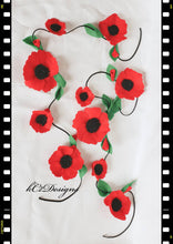 Flower Garland, felt flower Garland. Felt flowers. Garland. red poppies. Wedding Garland. Wedding decor. Baby shower. Felt. red flowers