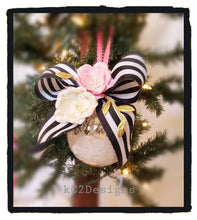 Kate Spade Inspired. Holiday ornaments. Pink and gold tree ornaments. Christmas tree decor. Pink and black tree decor. Christmas tree.  Tree