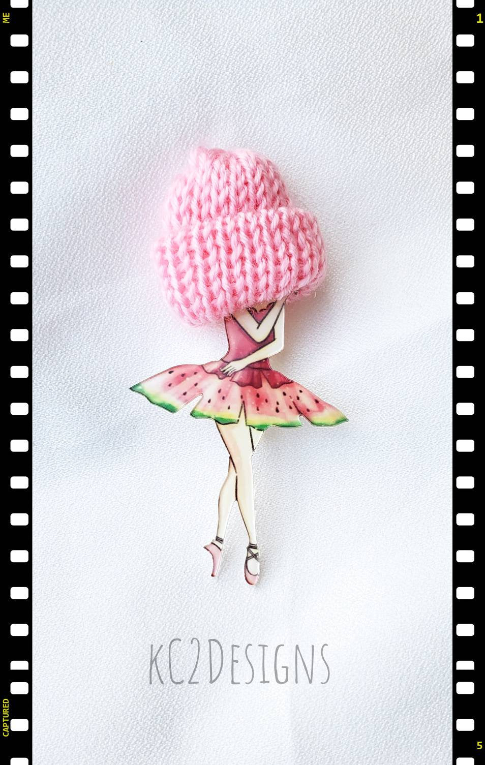 Lady brooch. Girl brooch. Morhers Day gift. Graduation gift. Purse Pin. Hat brooch. Happy mail. Backpack pin. Fun mail. Ballerina pin. Hat.