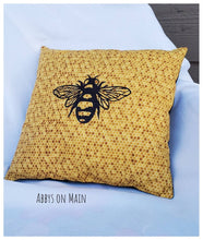 Bee throw pillow. Decorative bee pillow. Bumble bee. Honeycomb. Throw pillow. Pillow. Yellow bee pillow