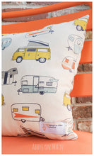 Throw pillow. Happy Camper Decorative bee pillow. Old Camper. Road trip. Throw pillow. Pillow. Sofa pillow. Throw pillow.