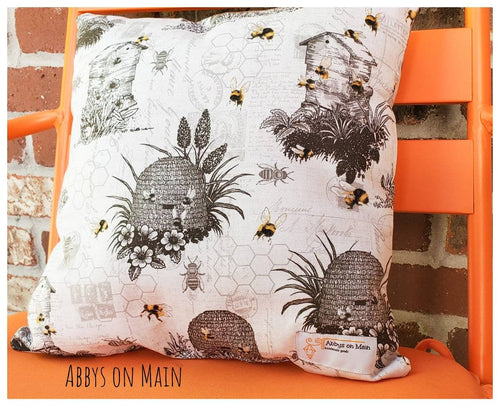 Bee throw pillow. Be hive. Decorative bee pillow. Bumble bee. Honeycomb. Throw pillow. Pillow. Yellow bee pillow. 12 x 12 pillow
