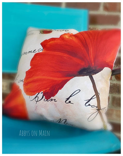 Poppy flower throw pillow. Decorative pillow. Poppy. Poppy flowers. Throw pillow. Pillow. Red poppies. Red poppies. Fall pillow. Room decor.