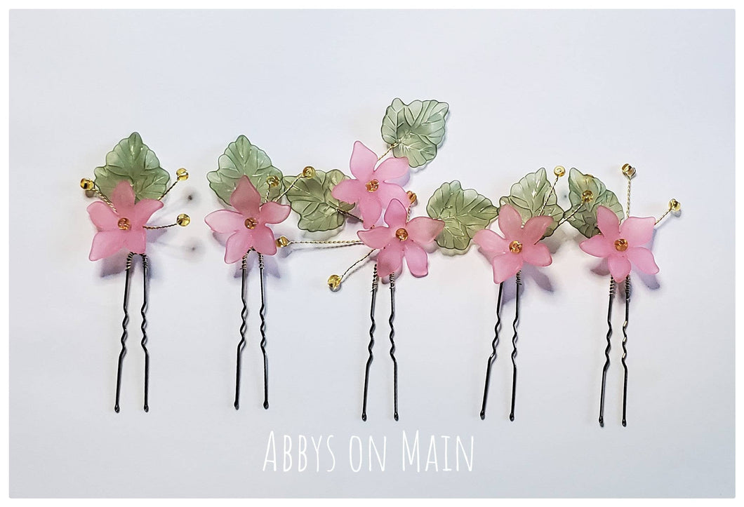 Hair pins. Hair accessories.  Flower girl. Bridal hair. Pink flowers. Spring flowers. Kate Spade Inspired. Wedding hair. Flower hair pins.