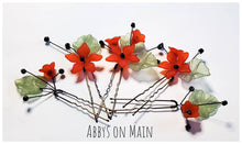 Flower Hair pins. Hair accessories.  Flower girl. Bridal hair. Red flowers. Spring flowers. Poppies. Wedding hair. hair pins. Bobby pins