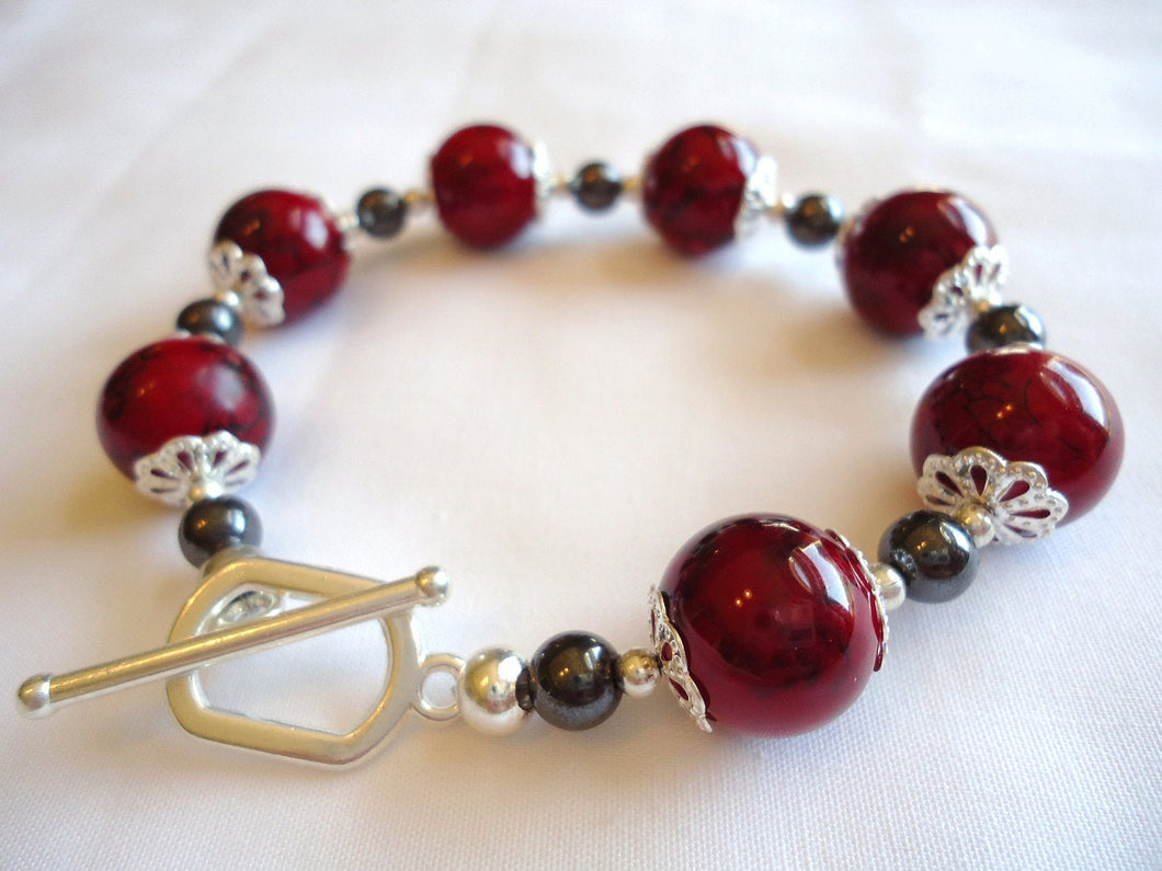 bracelet. Red and silver Hematite bracelet. sivler accents.Valentines gift. birthday gift. holiday gift. red beads. affordable bracelet