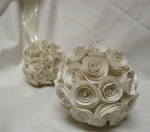 Pomander. Kissing Ball. Flower girl bouquet. Bridal flowers. Bridesmaid bouquet. Ivory roses. Ivory flowers
