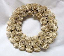 Paper flower. Rustic wreath. Paper rose wreath. Paper roses. upcycled paper roses. upcycled book page flowers. paper roses. vine wreath.