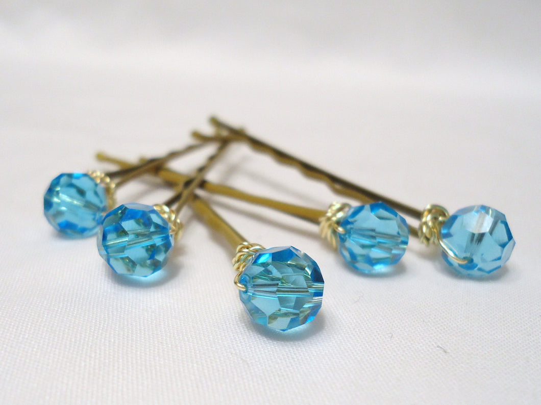 hair accessories. hair pins. bobby pins. crystal hair pin. wedding hair pins. bridesmaids. flower girl. hair accessories. Teal Blue