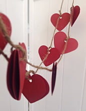 Paper garland. Heart Garland. Paper heart. Red hearts. Rustic wedding. Party garland. Birthday party. Valentines day. Vintage style.